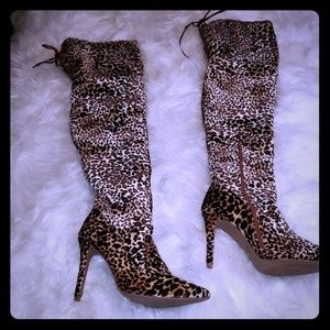 Leopard print thing high boots